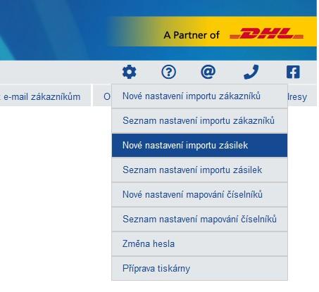 Nové nastavení importu zásilek